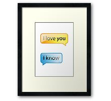 i love you text Framed Print