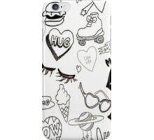 Black and White Random Print iPhone Case/Skin