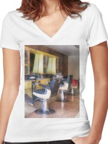 Small Town Barber Shop Women's Fitted V-Neck T-Shirt
