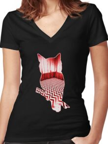 Twin Peaks Owl Women's Fitted V-Neck T-Shirt