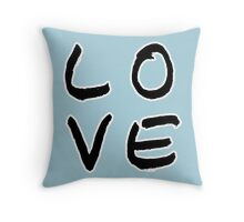 LOVE in Baby Blue Throw Pillow