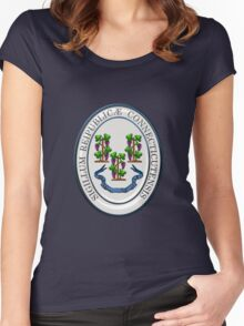 Connecticut State Seal over Blue Velvet Women's Fitted Scoop T-Shirt