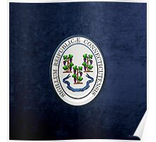 Connecticut State Seal over Blue Velvet Poster