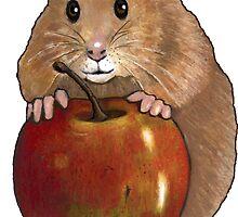 Hamster with Big Red Apple, Original Illustration by Joyce Geleynse