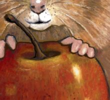 Hamster with Big Red Apple, Original Illustration Sticker