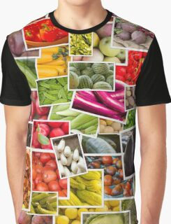 Fruits and Vegetables Collage Graphic T-Shirt