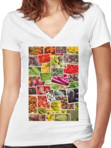 Fruits and Vegetables Collage Women's Fitted V-Neck T-Shirt
