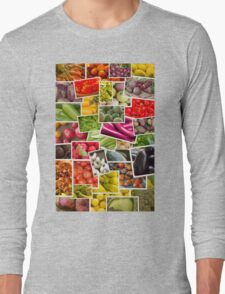 Fruits and Vegetables Collage Long Sleeve T-Shirt