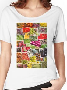 Fruits and Vegetables Collage Women's Relaxed Fit T-Shirt