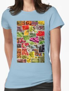 Fruits and Vegetables Collage Womens Fitted T-Shirt