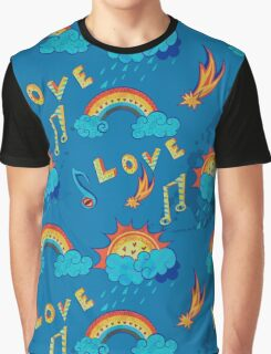 seamless pattern with love, music and weather symbols Graphic T-Shirt