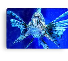 Lion Fish on Blue Canvas Print