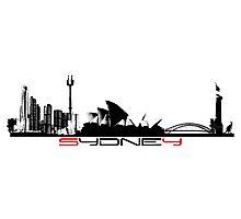 Sydney skyline city black Photographic Print
