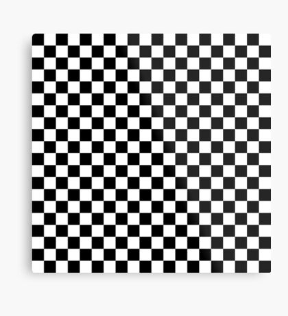Check pattern. Checkered pattern. Black and white check pattern. Checkerboard. Chessboard. Metal Print