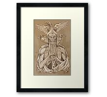 grayscale image of dead king with birds2 Framed Print
