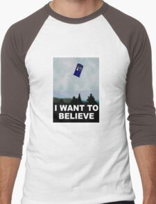 """""""I Want To Believe"""" Police Public Call Box version.  Men's Baseball ¾ T-Shirt"""
