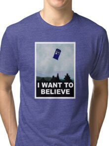 """""""I Want To Believe"""" Police Public Call Box version.  Tri-blend T-Shirt"""