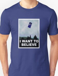 """I Want To Believe"" Police Public Call Box version.  T-Shirt"