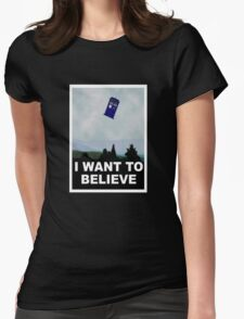 """""""I Want To Believe"""" Police Public Call Box version.  Womens Fitted T-Shirt"""