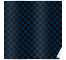 Check pattern. Checked Square. Checkered pattern. Black and blue. Checkerboard pattern. Chessboard pattern. Poster