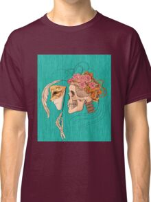 illustration with skull holding a human face mask Classic T-Shirt