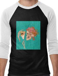 illustration with skull holding a human face mask Men's Baseball ¾ T-Shirt
