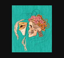 illustration with skull holding a human face mask T-Shirt