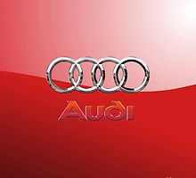 Audi 3D Badge 2.0 on Red by Serge Averbukh