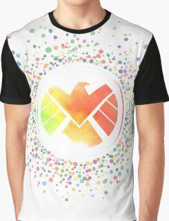 Rainbow Watercolor SHIELD Logo Graphic T-Shirt