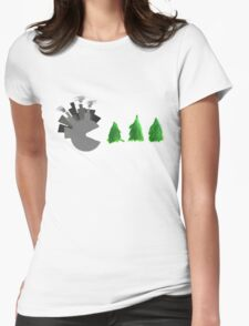 Pac Man Trees Womens Fitted T-Shirt