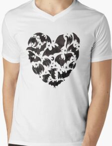 Bat Heart Mens V-Neck T-Shirt
