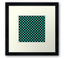 Minimalist check pattern. checkered square, Green and black. Checkered pattern.  Framed Print