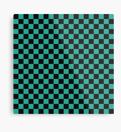 Minimalist check pattern. checkered square, Green and black. Checkered pattern.  Metal Print
