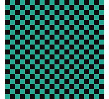 Minimalist check pattern. checkered square, Green and black. Checkered pattern.  Photographic Print
