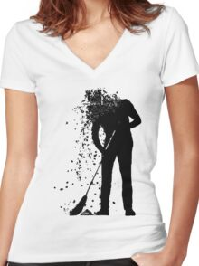 broom man Women's Fitted V-Neck T-Shirt