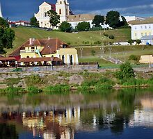 The old European city on the river bank. by sovushka13