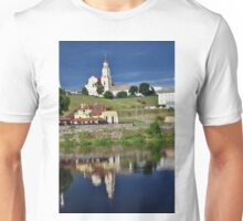 The old European city on the river bank. Unisex T-Shirt