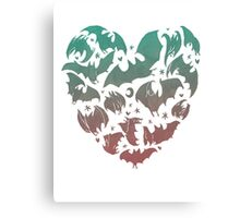 Bat Heart; blue/pink ombre Canvas Print