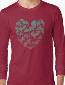 Bat Heart; blue/pink ombre Long Sleeve T-Shirt