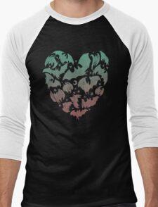 Bat Heart; blue/pink ombre Men's Baseball ¾ T-Shirt