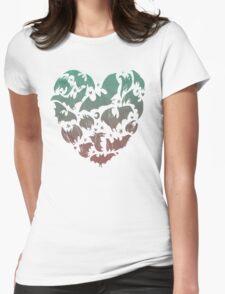 Bat Heart; blue/pink ombre Womens Fitted T-Shirt