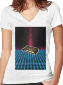 Synthesizer Women's Fitted V-Neck T-Shirt