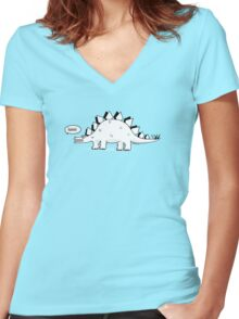 Cartoon Stegosaurous Women's Fitted V-Neck T-Shirt