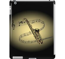 Saxophone ~ Scrolling Scale ~ Cream & Black Background  iPad Case/Skin