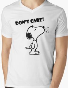 "Snoopy ""Don't Care!"" Mens V-Neck T-Shirt"