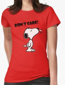 "Snoopy ""Don't Care!"" Womens Fitted T-Shirt"