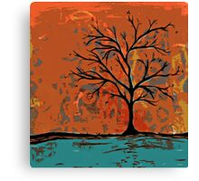 Fall tree with branches on lake Canvas Print
