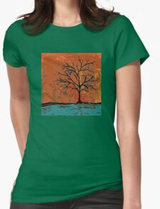 Fall tree with branches on lake Womens Fitted T-Shirt