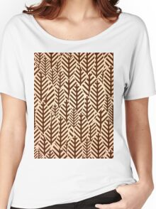 Seamless black and white leaf pattern Women's Relaxed Fit T-Shirt