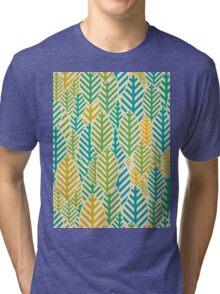 Seamless black and white leaf pattern Tri-blend T-Shirt